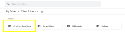"""A Google Drive folder called """"(Free) to a Good Home"""" to store unused designs in"""