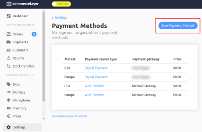 Payments Methods dashboard on Commerce Layer