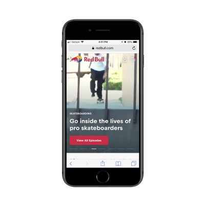 Red Bull menu notification