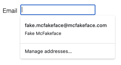 Screenshot of autofill popup on Chrome showing only two fields: email and name (the only email is visible)
