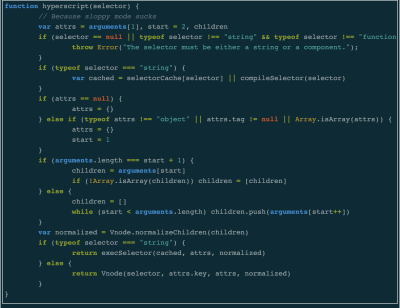 The source code for Mithril's hyperscript function