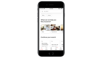 Airbnb app home page