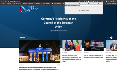 Screengrab of Germany's EU2020 site showing no cookies and no cookie consent notice