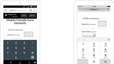Android and iOS demo with input type=number, pattern and inputmode.