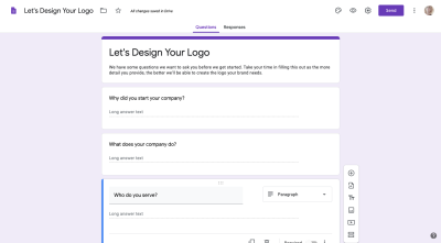 Google Forms logo client questionnaire