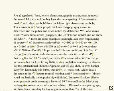 Cropped paragraph block typeset in Baskerville font, showing half of the full figure, of gobbledygook text. Shows lots of different typographic, mathematical and miscellaneous symbols. Yellow has been used to highlight where the white spaces have been inserted. And whole paragraph block typeset in Baskerville font, showing half of the full figure, of gobbledygook text. Shows lots of different typographic, mathematical, and miscellaneous symbols. Yellow has been used to highlight where the white spaces have been inserted.