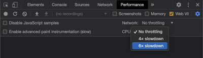 A screenshot showing how to enable CPU throttling in Chrome DevTools