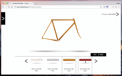Veloce's initial state is blank. As the customer chooses options, a bicycle appears before them.