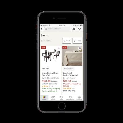 Wayfair app search filters
