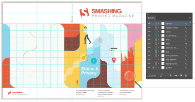 Final cover design shown in Adobe Illustrator with grid guides and layers panel
