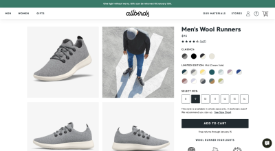 Allbirds product page design with a sticky bar explaining gift returns and a sticky chat widget meant for self-service