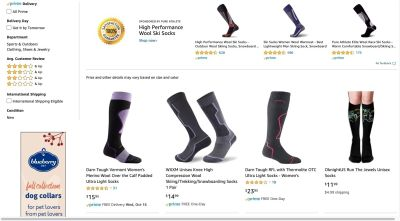 Amazon search - sponsored products banner