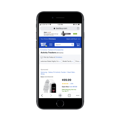 Best Buy category page for 'activity trackers'