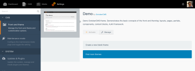 Front-end theme manager