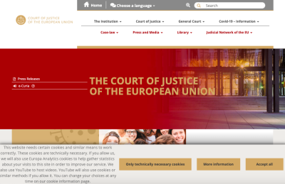 Screengrab of the CJEU's cookie consent