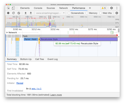 Recalculate style initiator displayed in DevTools