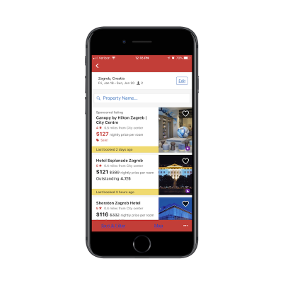 Hotels.com app search