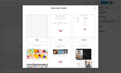 Creating a new page with full site editing enabled