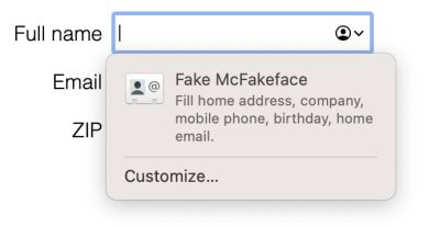 Screenshot of Safari autofill suggestion, indicating that it will share address, company, mobile phone, email, birthday