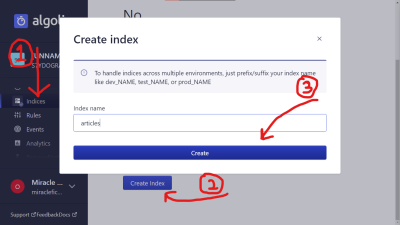 Screenshot of Algolia account page to create new index