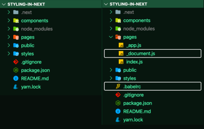 A screenshot of the change to the demo Bookshelf after adding two new files - <code>_.document.js</code> and <code>.babelrc</code>