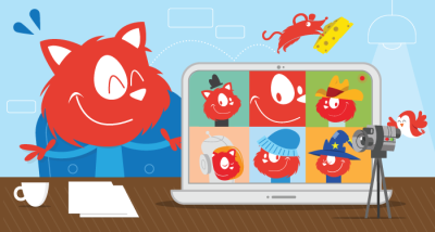 Topple the Cat running an online workshop with six other cool cats