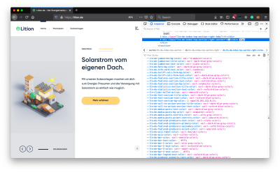 Main page of Lition web-site with opened browser dev tools