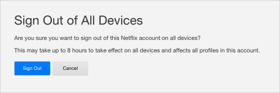 Netflix shows a confirmation dialog before signing out of all devices.