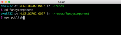 NPM packages are published via the command line