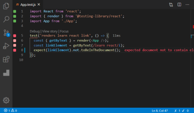 A screenshot of the App.test.js file opened in a editor showing failing tests