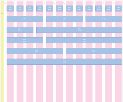 A grid system with 12 equal-width columns is robust and flexible and provides different ways of organizing the structure.