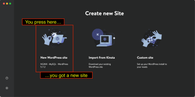 Launching a site at the press of a button