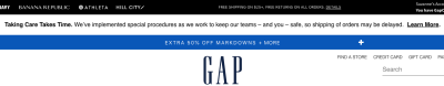 Gap's 'Taking Care Takes Time' banner notice on website