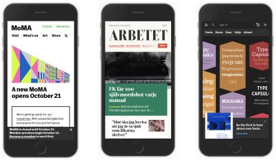 Three different design patterns without hamburger navigation on three mobile devices