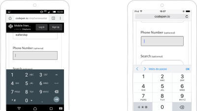 input type=tel on Android and iOS