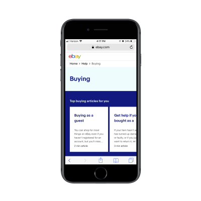 eBay Contact page with articles