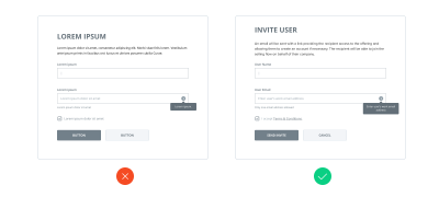 Example of using real content instead of lorem ipsum in wireframes