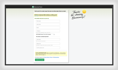 Interestingly, Basecamp web form also uses proximity to segment form details