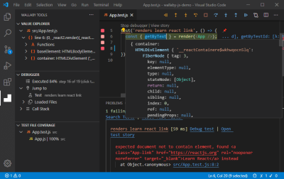 A screenshot of the App.test.js file opened in an editor showing the runtime value selected