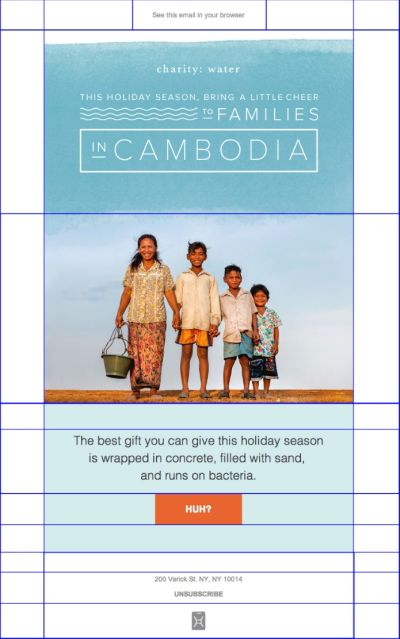 Email design by Charity: Water divided into a grid.