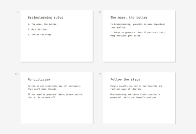 Examples of slides that describe the three core brainstorming rules