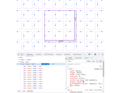 Screenshot of Chrome DevTools' Elements panel showing a scroll-snap badge has been enabled and an overlay appears in the page