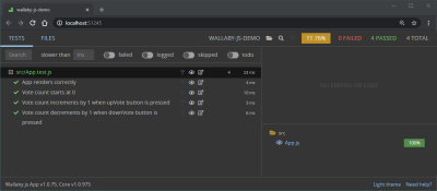 Final outcome of the Wallaby.js demo opened in a browser tab