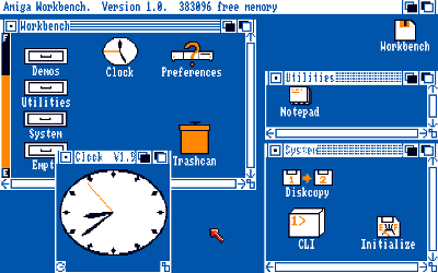 Examples of first colored icons used by Amiga Workbench