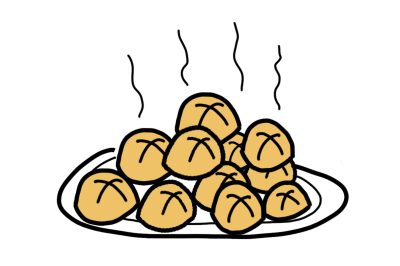 Drawing of buns with steam rising
