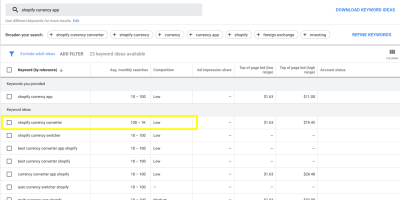 """Search for """"shopify currency app"""" in Google Keyword Planner, with """"shopify currency converter"""" highlighted"""
