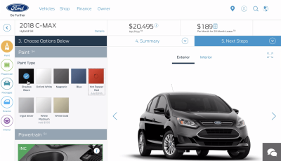 Ford's configurator has a tad bit too much going on at once. The more intricate a product, the more difficult it will be to show a wide range of options without overwhelming the customer with complex decisions.