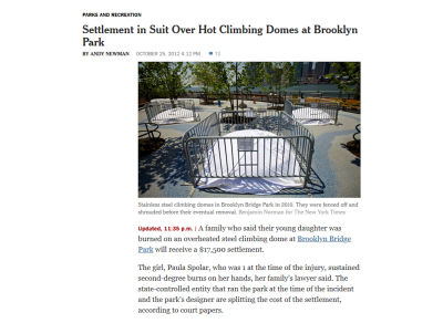 Screenshot of New York Times news article about a playground lawsuit
