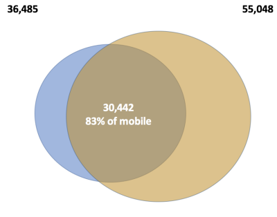 Pi chart showing overlap of mobile and desktop video sites