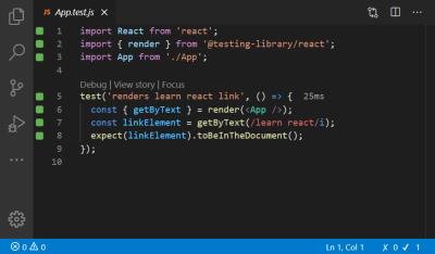 A screenshot of the code inside the App.test.js file